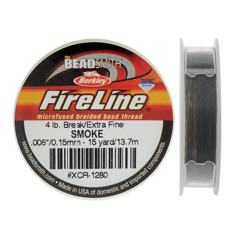 FireLine Braided Beading Thread, 4lb Test and 0.005 Thick, 15 Yards, Smoke Gray
