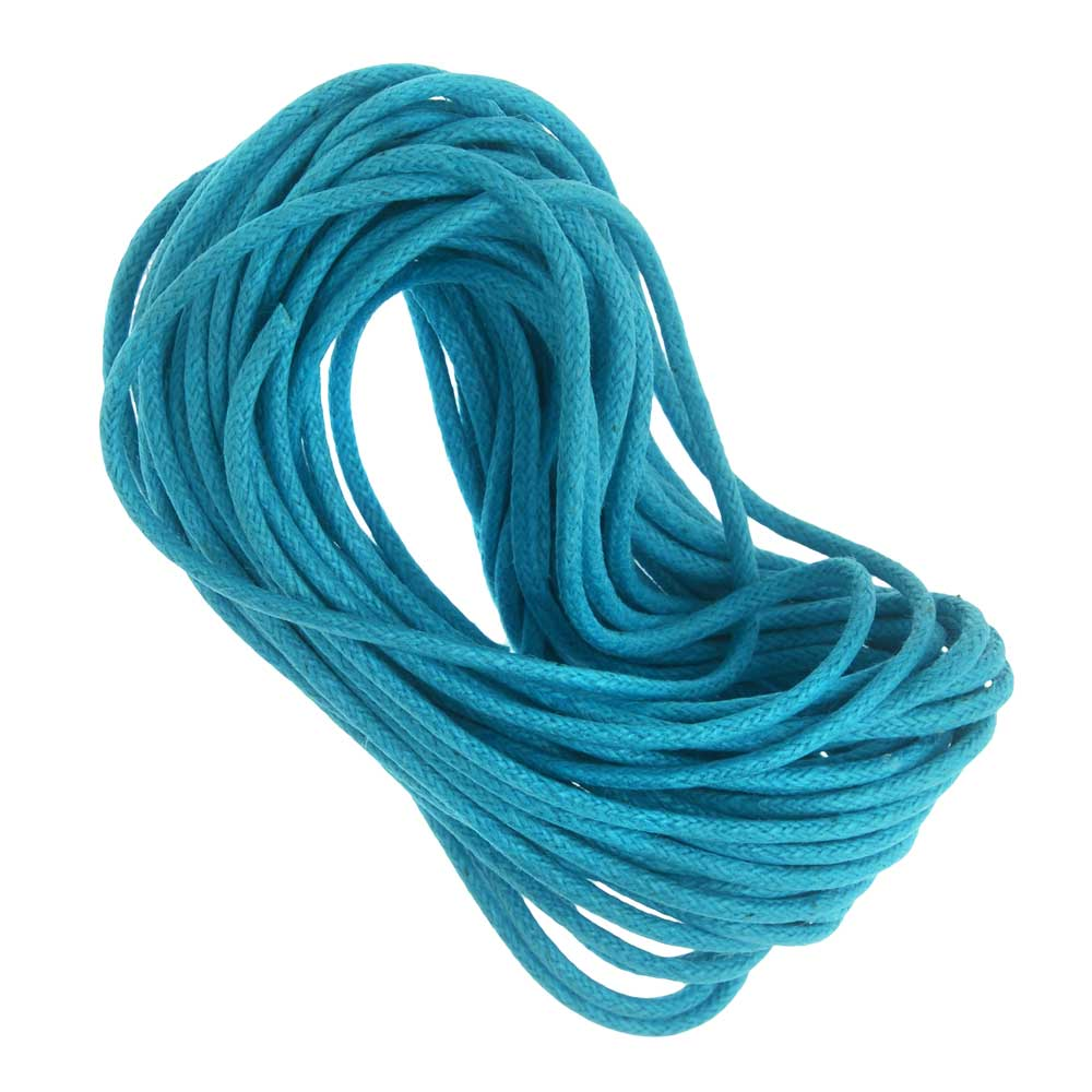 Waxed Cotton Cord 1.5mm Round - Turquoise (5 Meters/16.5 Feet)