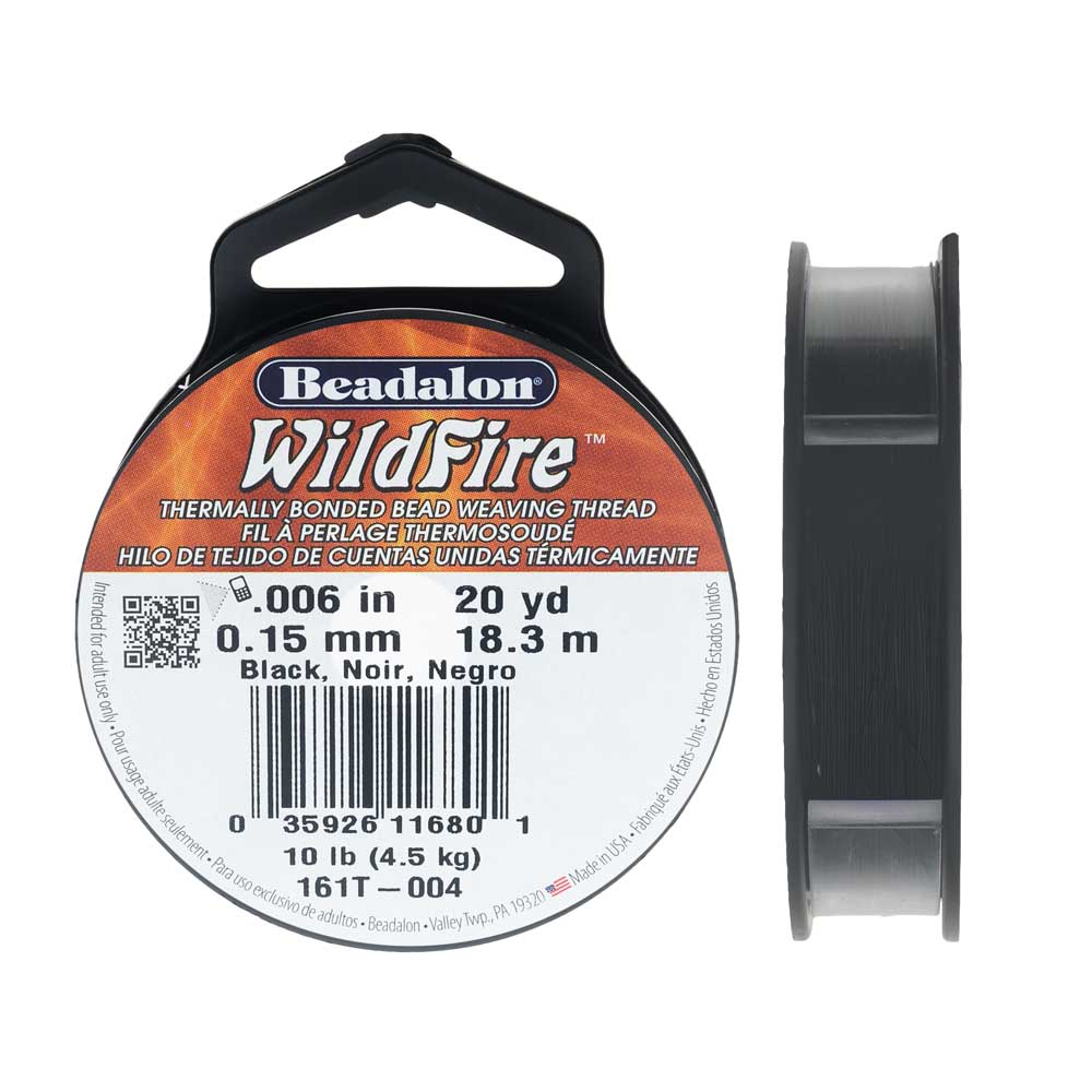 Wildfire Thermal Bonded Beading Thread, .006 Inch Thick, 20 Yard Spool, Black