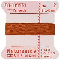 Griffin Silk Beading Cord & Needle Size 2 Carnelian