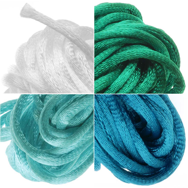 Satin Rattail Cord 2mm Neon Mix 4 Color 6 Yd Ea - Teal Green, White, Dk Turquoise, Aqua