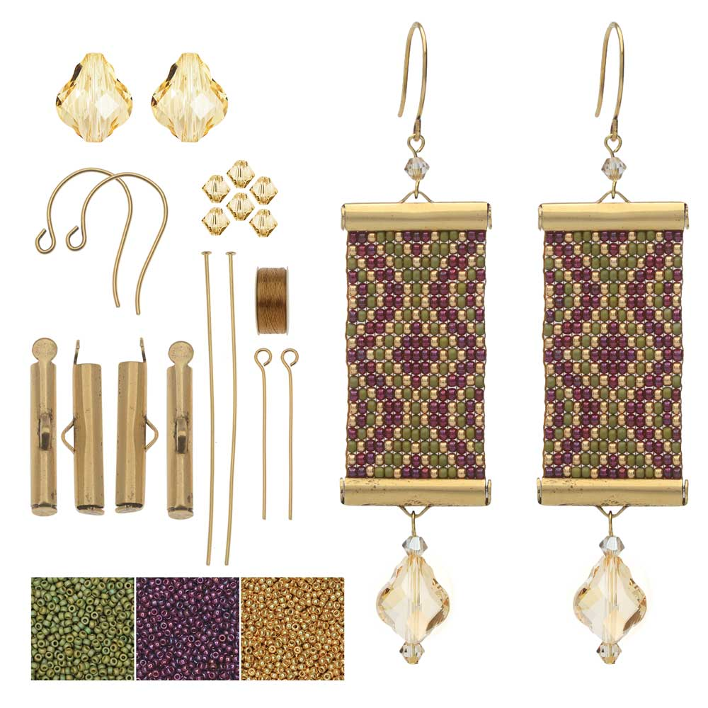 Refill - Loom Statement Earrings in Tuscany - Exclusive Beadaholique Jewelry Kit