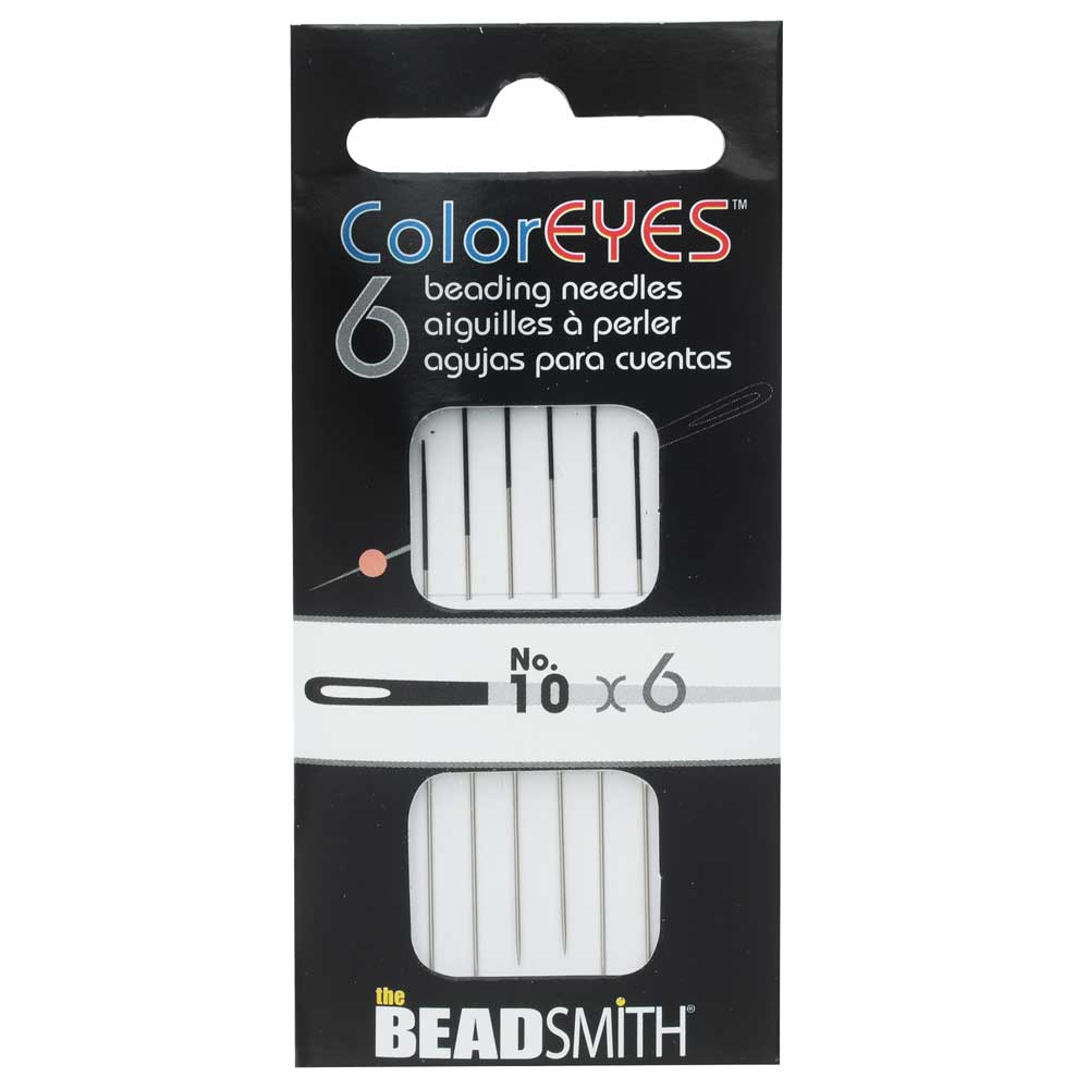 The Beadsmith ColorEYES Beading Needles, Size #10, 1 Pack of 6, Black