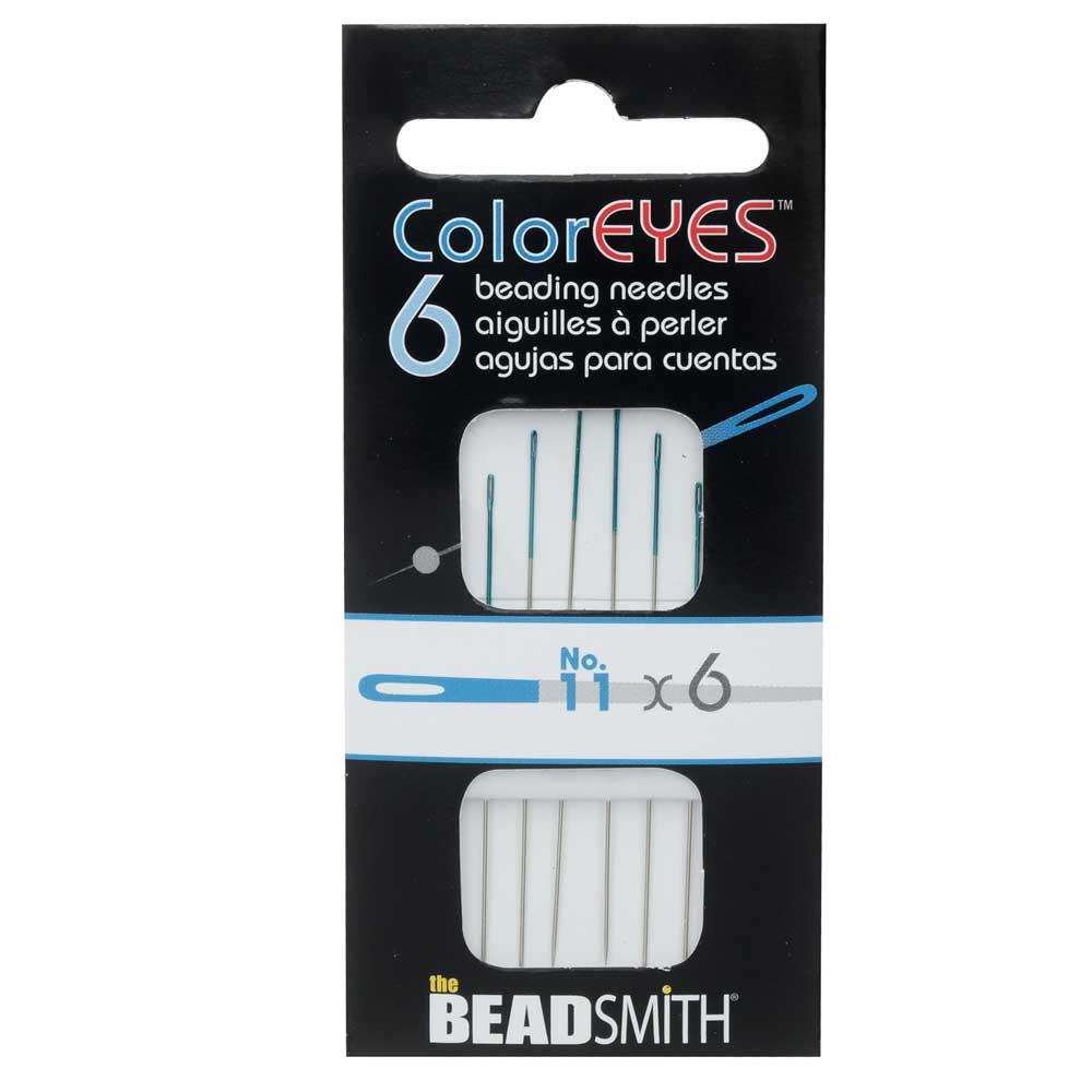 The Beadsmith ColorEYES Beading Needles, Size #11, 1 Pack of 6, Blue