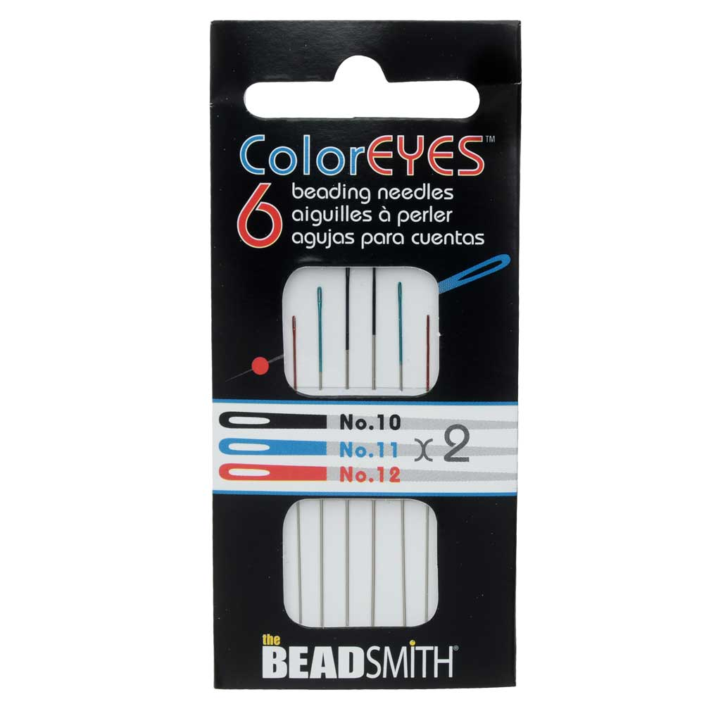The Beadsmith ColorEYES Beading Needles, Size #10, #11, #12 , 1 Pack of 6, Assorted
