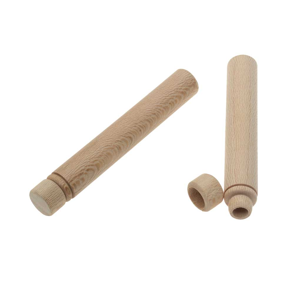 Wood Needle Case, Cylinder 3.5 x 0.55 Inches, 2 Pieces, Natural