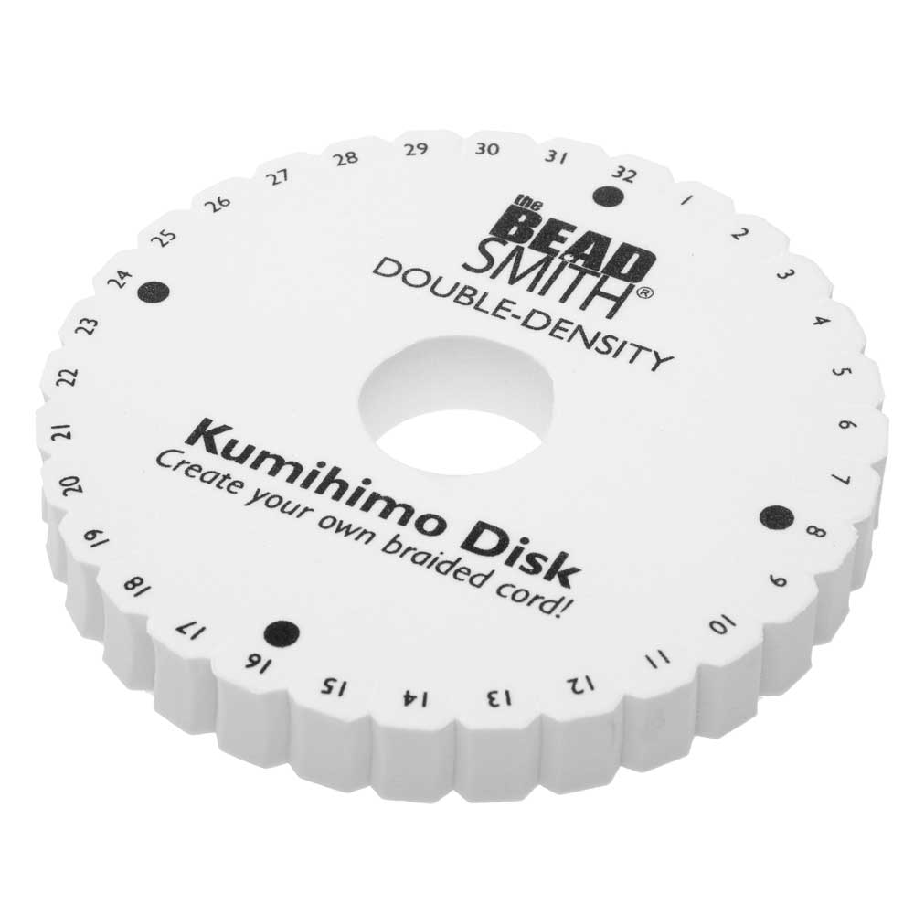 The Beadsmith Double Density 32 Slot Kumihimo Disk, For Japanese Braiding and Cording 6 Inches, White