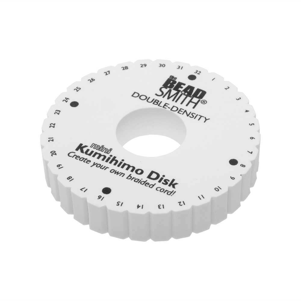 The Beadsmith Double Density Kumihimo Disk, For Japanese Braiding and Cording 4.25 Inches, White