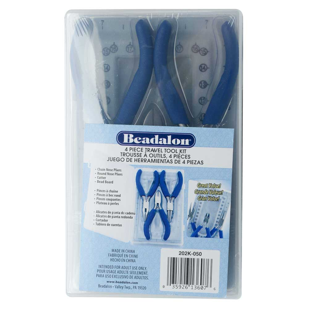 Beadalon Travel Tool Kit, Includes Chain & Round Nose Pliers / Cutter / Mini Bead Board with Case