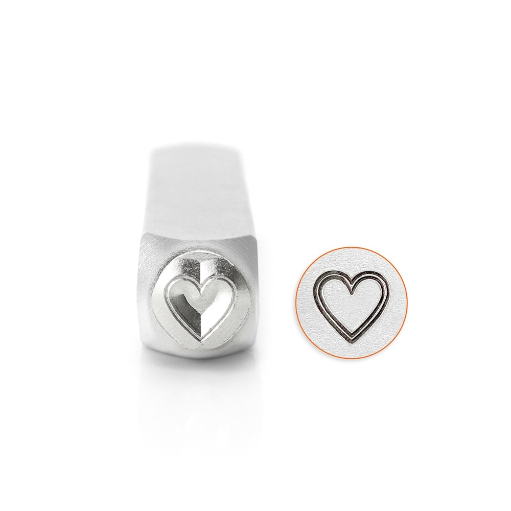 ImpressArt Metal Punch Stamp, Outlined Heart 6mm (1/4 Inch), 1 Piece, Steel