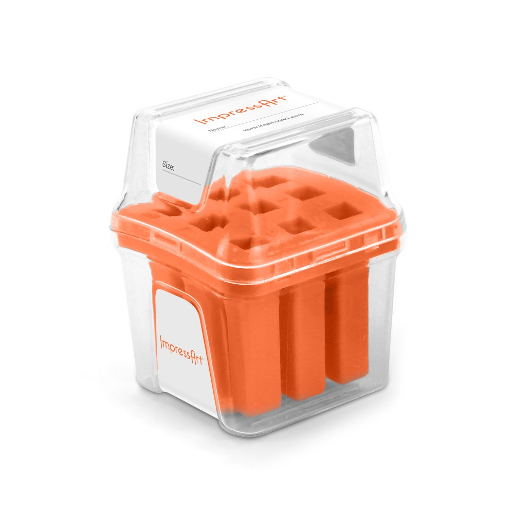ImpressArt Punch Stamp Storage Case for 6mm Numbers, Labeled Slots, Orange
