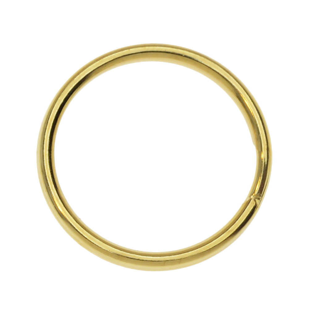 Key Ring, 24mm, 10 Pieces, Gold Tone