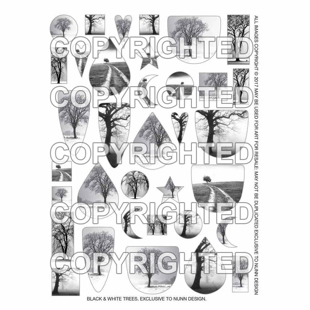 Nunn Design Transfer Sheet, Assorted Trees, 1/2 Sheet, Black and White