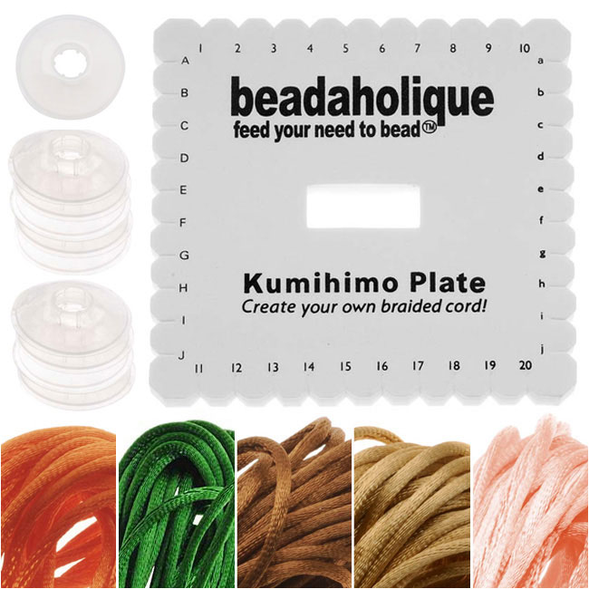 Kumihimo Braiding Kit Square Plate & Bobbins - Earthtone - 5 Color Satin 1mm Cord