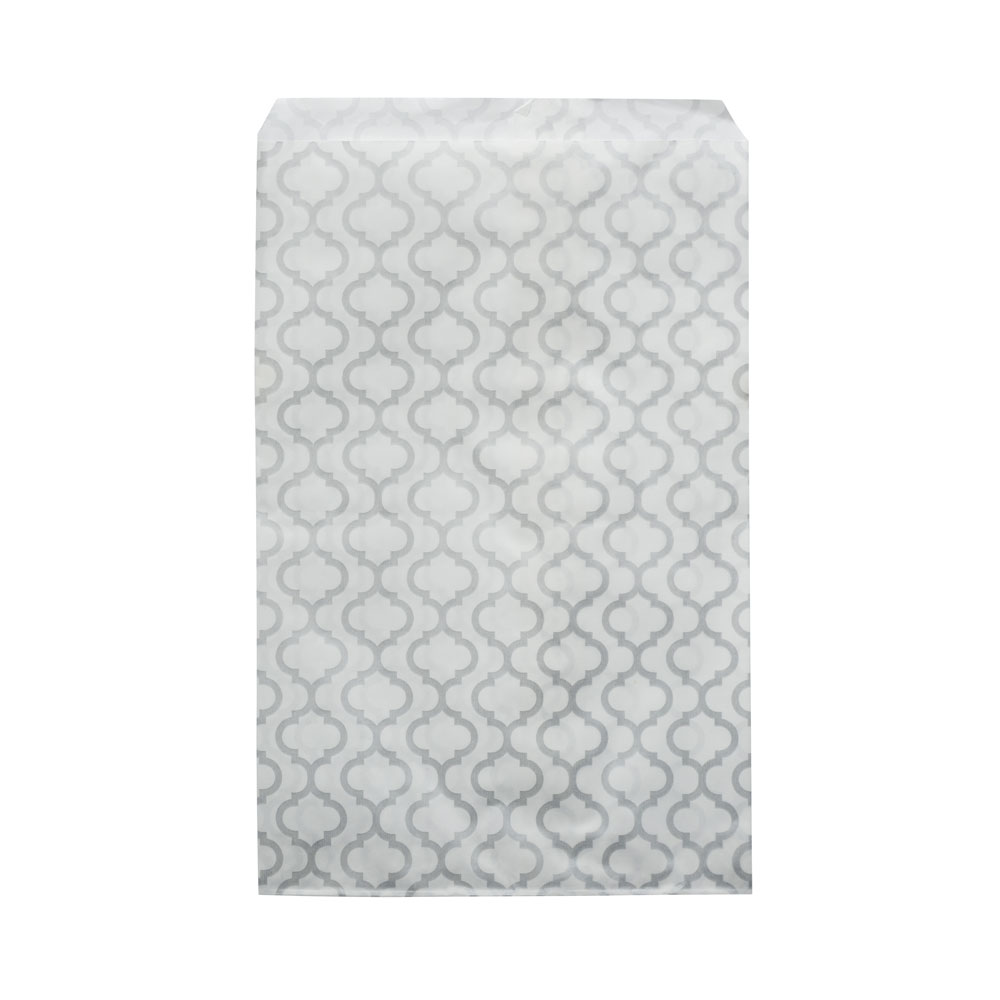 Paper Gift Bags, for Jewelry and Crafts 7 x 5 Inches, White with Silver Moroccan Pattern, 100 Pieces