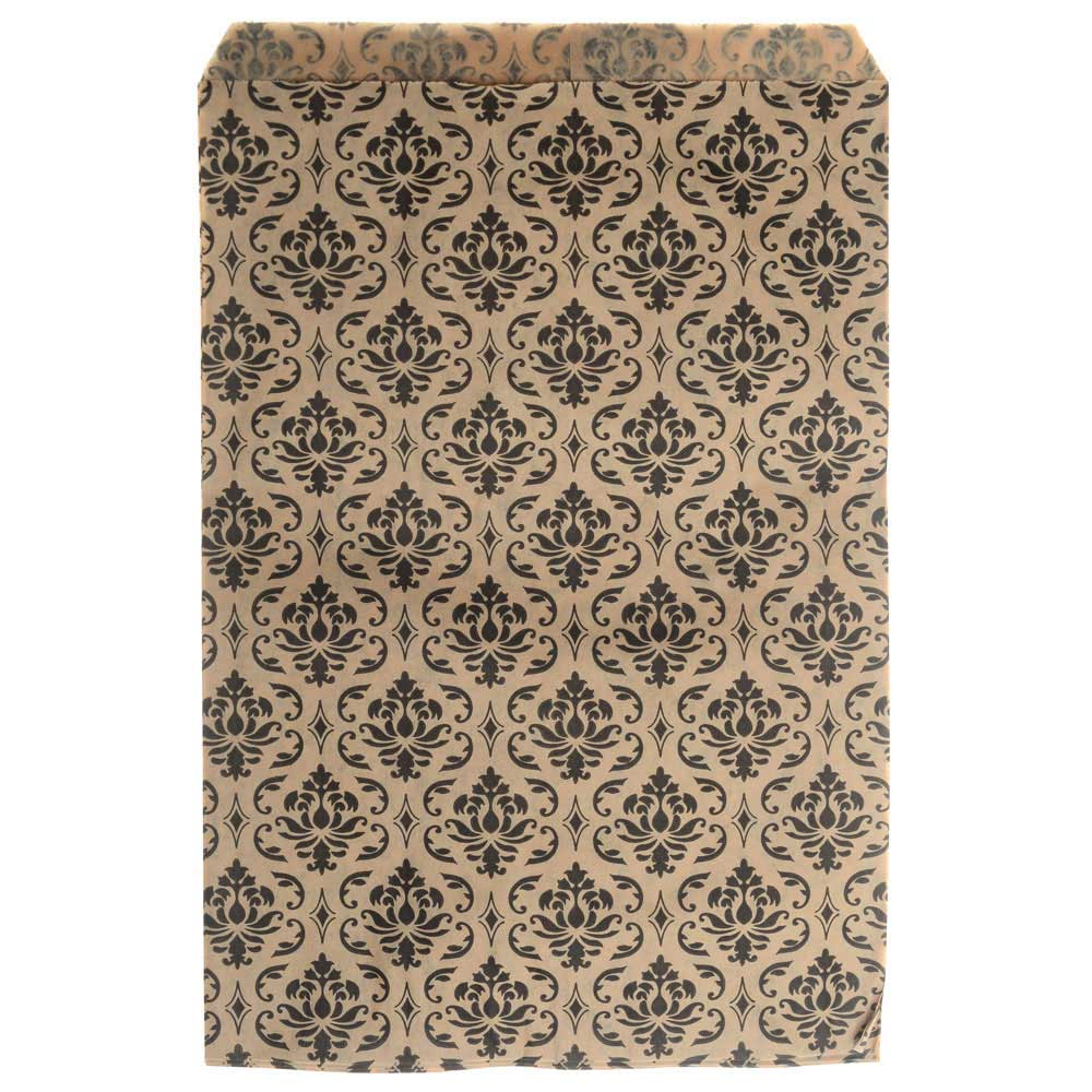 Paper Gift Bags for Jewelry & Crafts 9 x 6 Inches, Brown w/ Black Victorian Damask Pattern, 100 Pc
