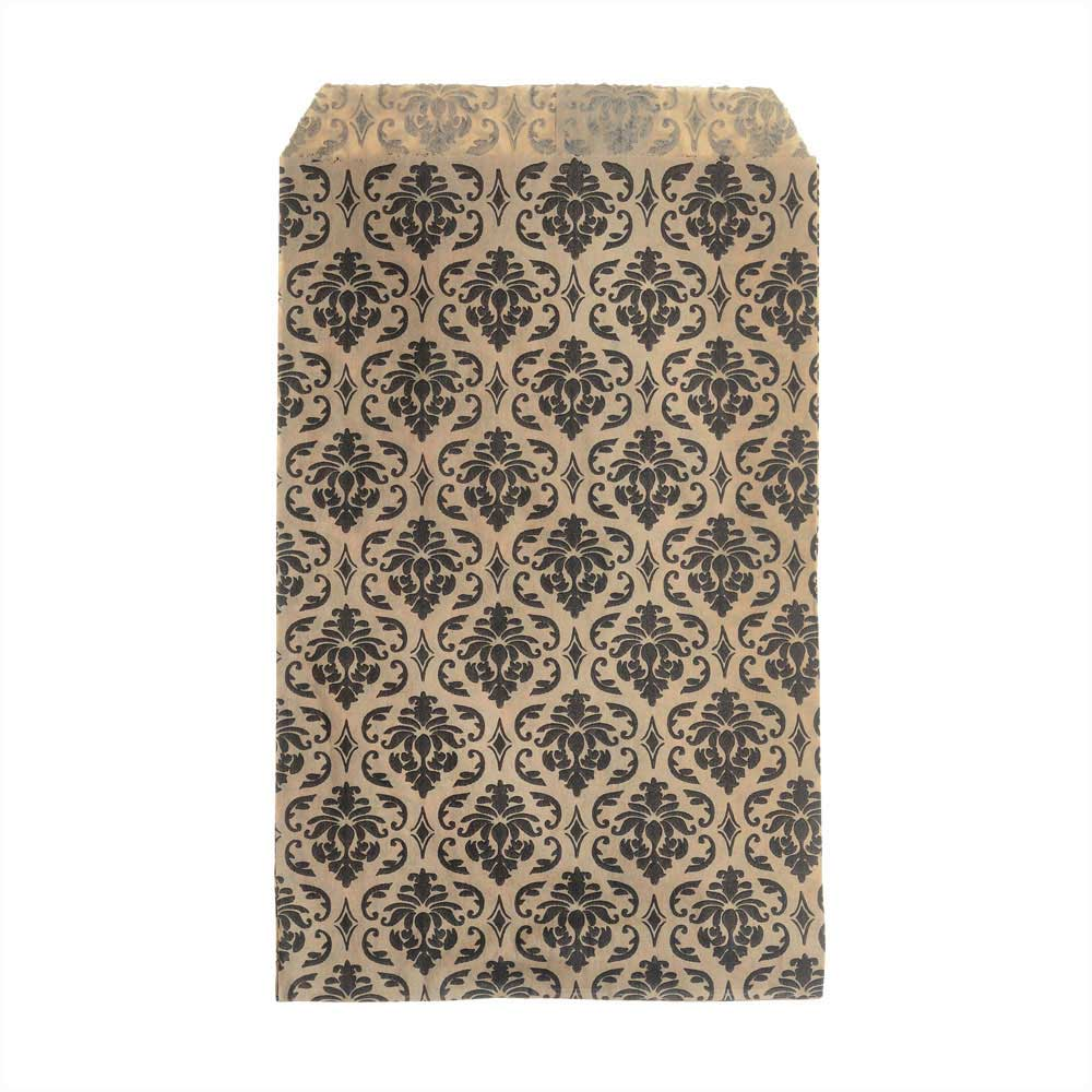 Paper Gift Bags for Jewelry & Crafts 6 x 4 Inches, Brown w/ Black Victorian Damask Pattern, 100 Pc