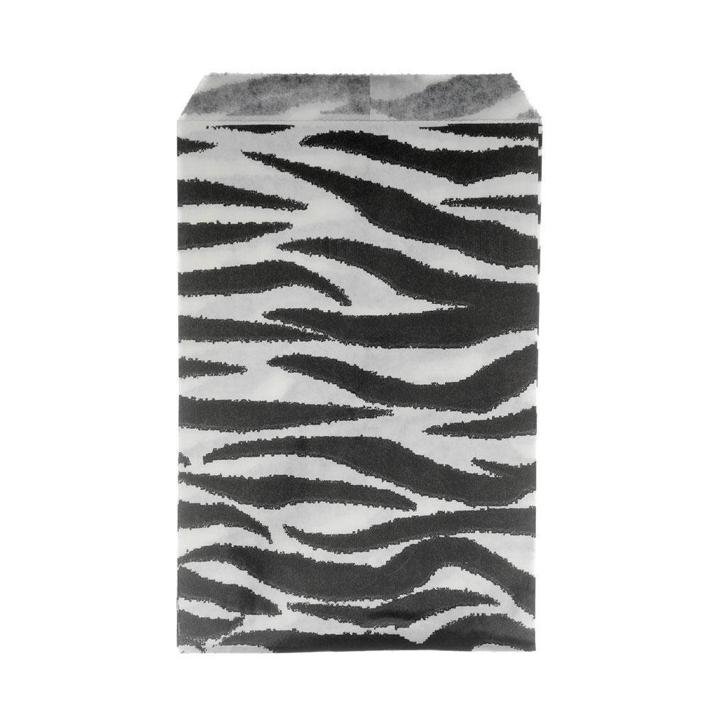 Paper Gift Bags, for Jewelry & Crafts 6 x 4 Inches, Black & White Zebra Stripe Pattern, 100 Pieces