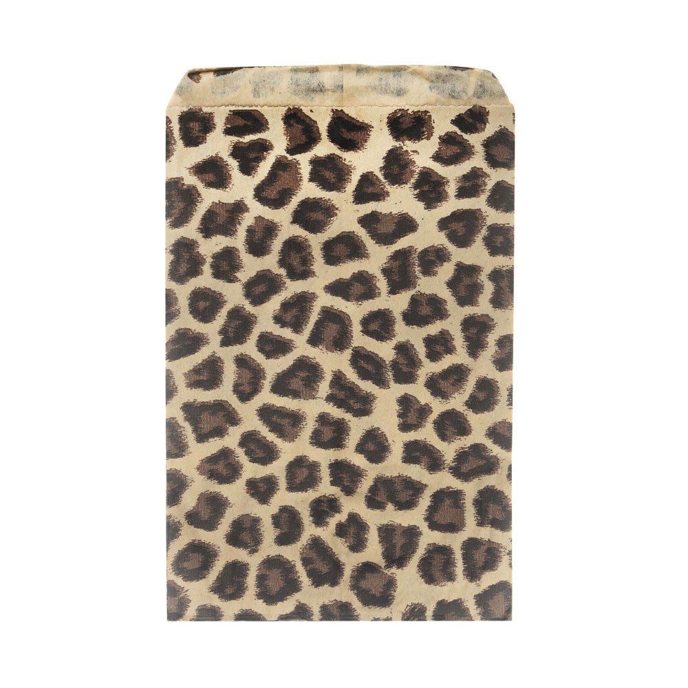 Paper Gift Bags, for Jewelry and Crafts 6 x 4 Inches, Brown and Black Leopard Print, 100 Pieces