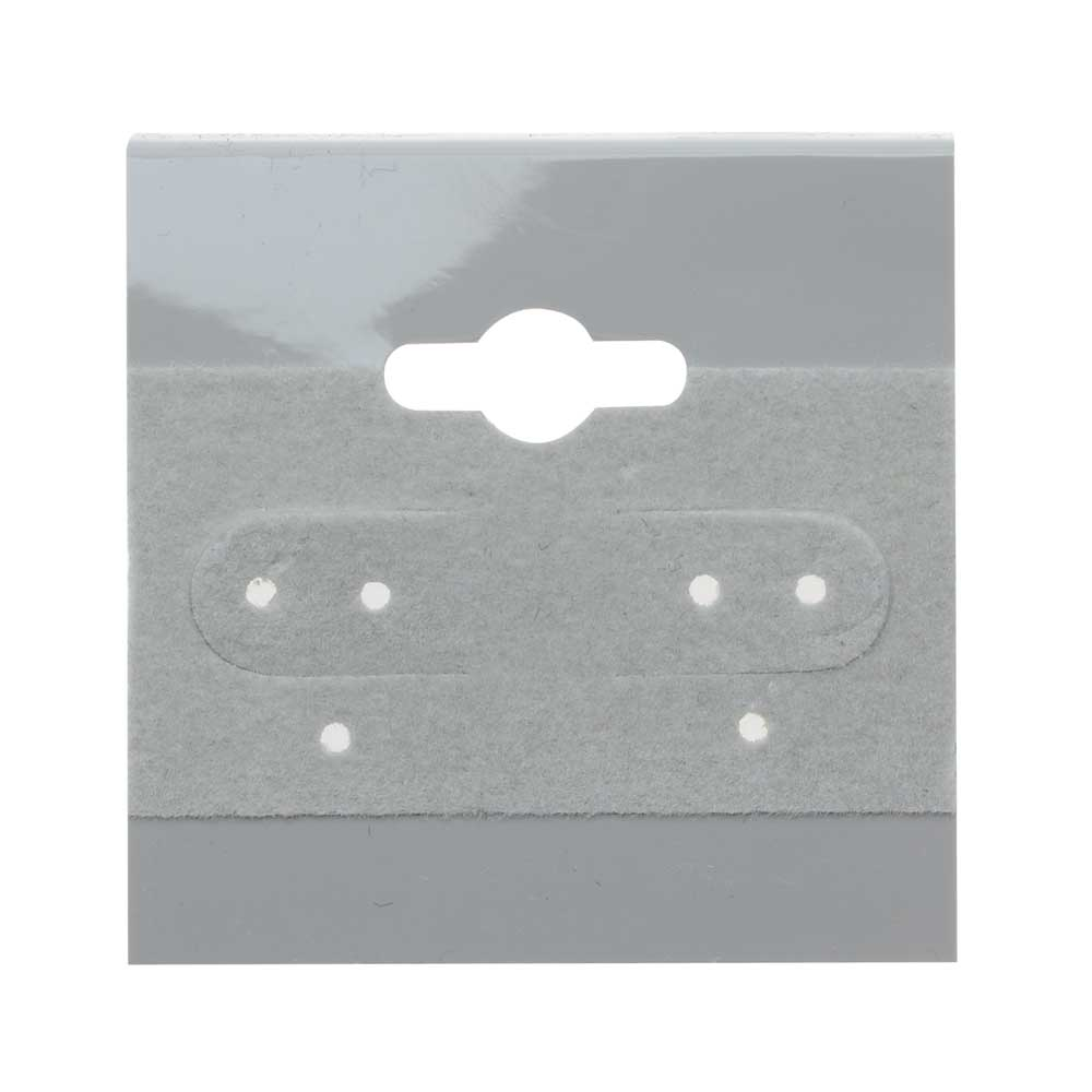 Earring Hang Cards Grey Flocked 1.5 x 1.5 Inches (100)