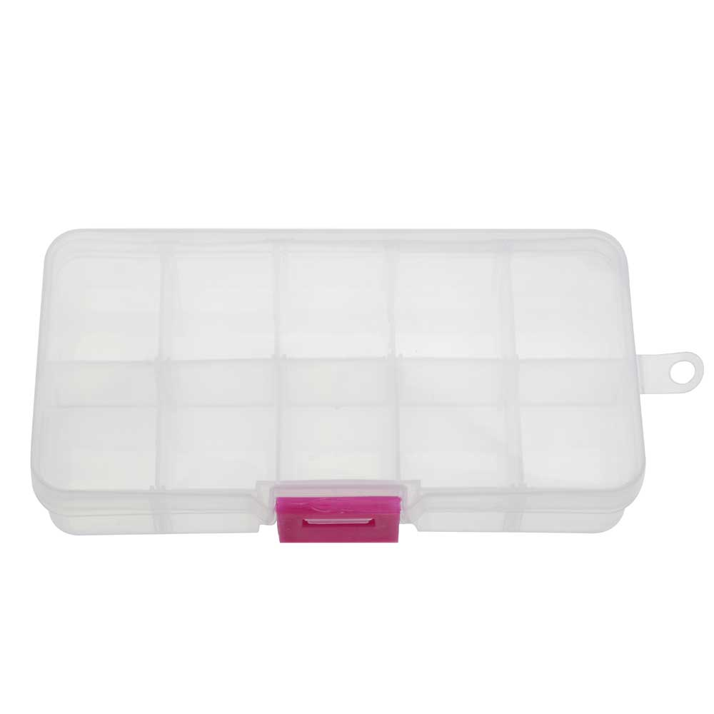 Plastic Bead Storage Case, Rectangle with Compartments 5 1/4