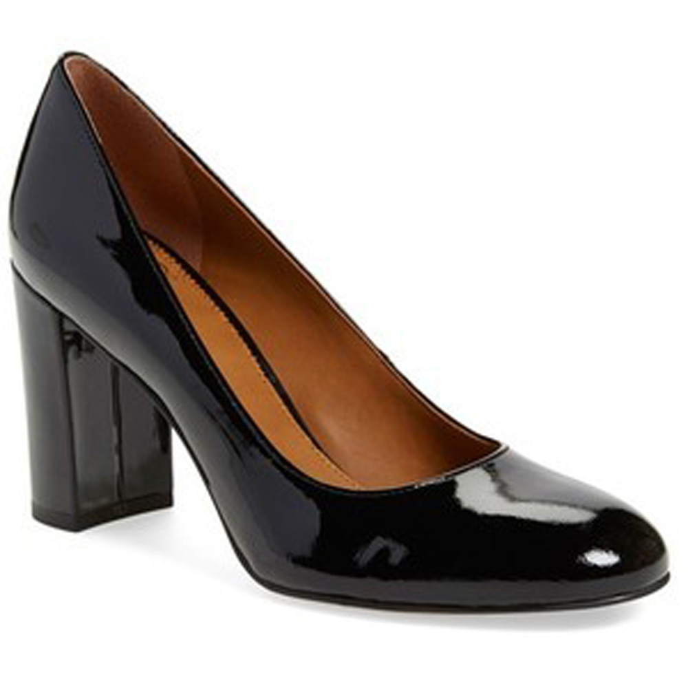 54e8303092 Franco Sarto Women's A-AZIZA Blocked Heel Pump BLACK PATENT ...