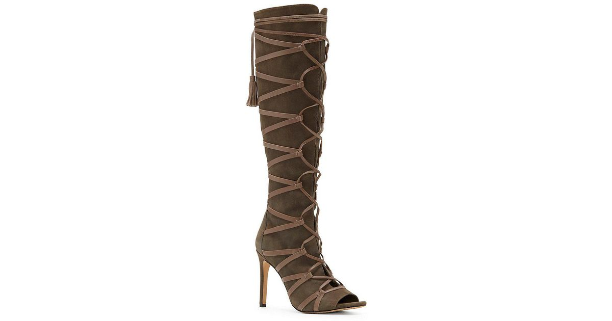 f72ecf5bb340 Vince Camuto CARSEY Suede Caged Over the Knee Boots