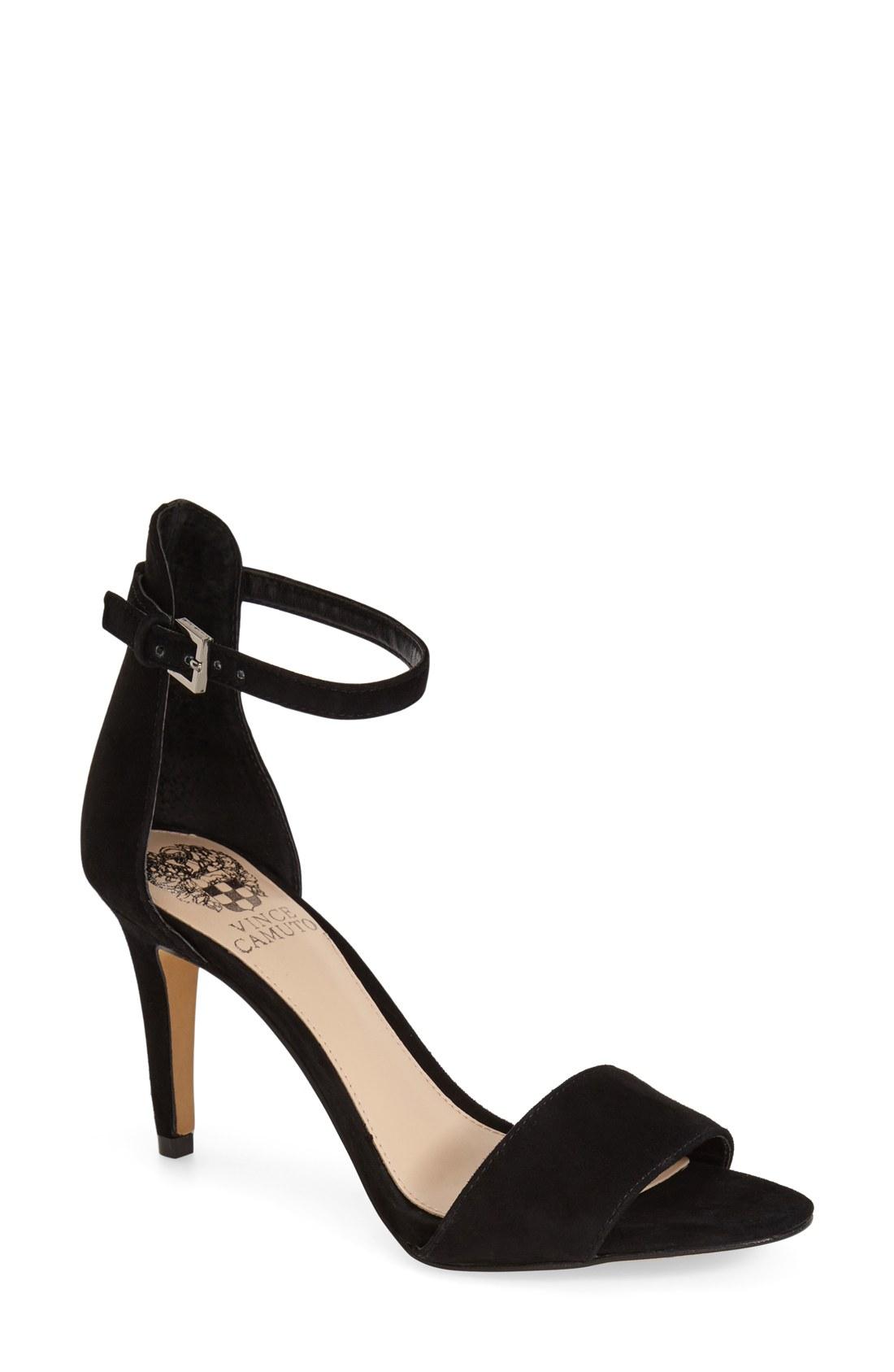 3eedcebc4d9 Vince Camato COURT Ankle Strap Sandals BLACK SUEDE