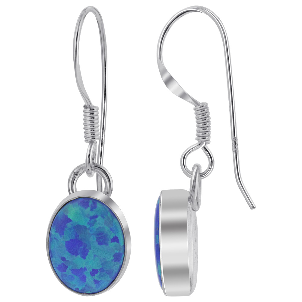 Unique Design Oval 925 Sterling Silver Dangle Earrings with Created Blue Fire Opal Stones