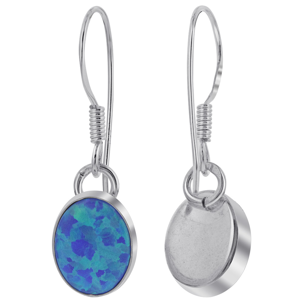 aaa4308c8ae73 Details about 925 Sterling Silver Oval Created Blue Fire Opal French Wire  Drop Earrings