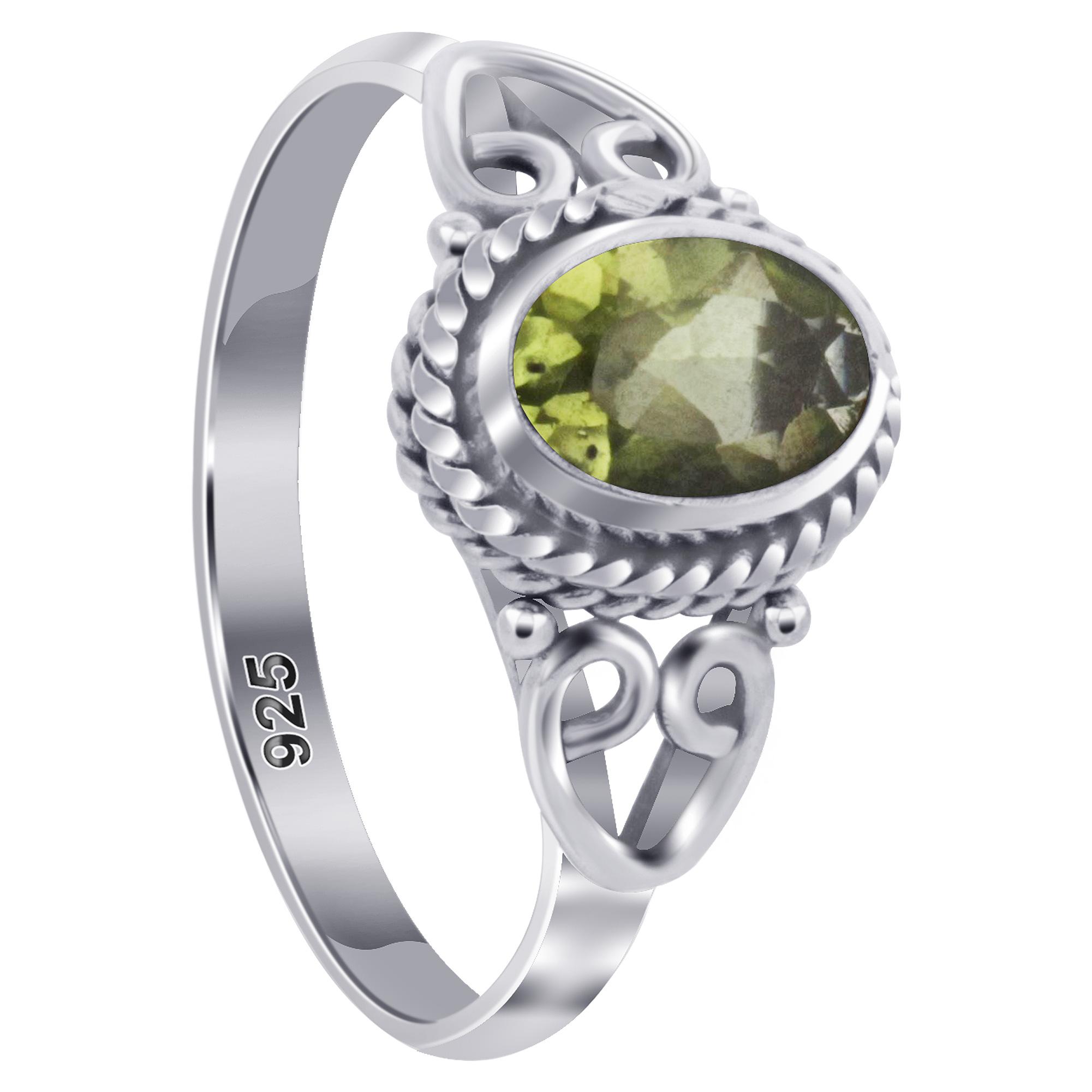 Gemstone Ring Stack Silver Rings with Gemstones Peridot Amethyst Handmade GR.51