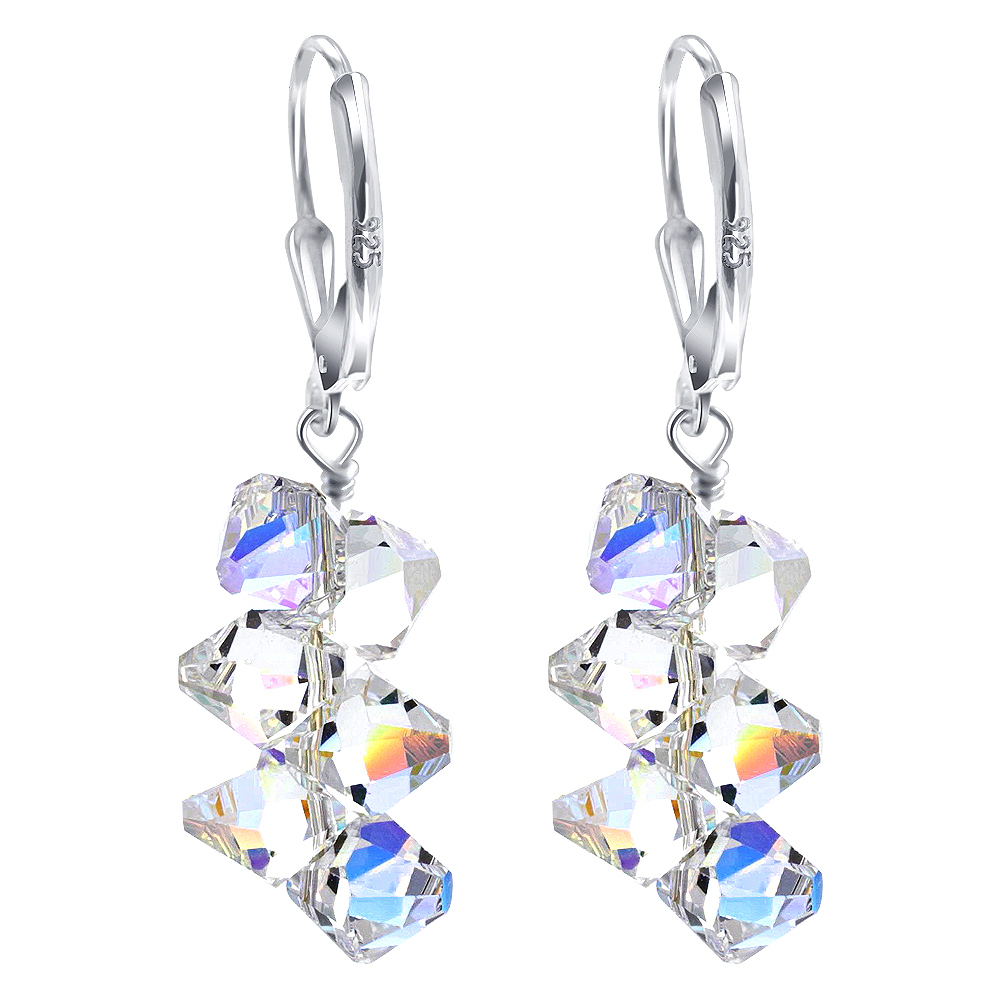 Made-with-Swarovski-Elements-Crystal-Drop-Sterling-Silver-Earrings thumbnail 15