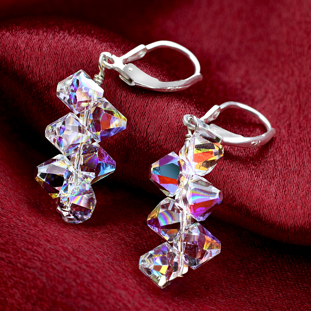 Made-with-Swarovski-Elements-Crystal-Drop-Sterling-Silver-Earrings thumbnail 16
