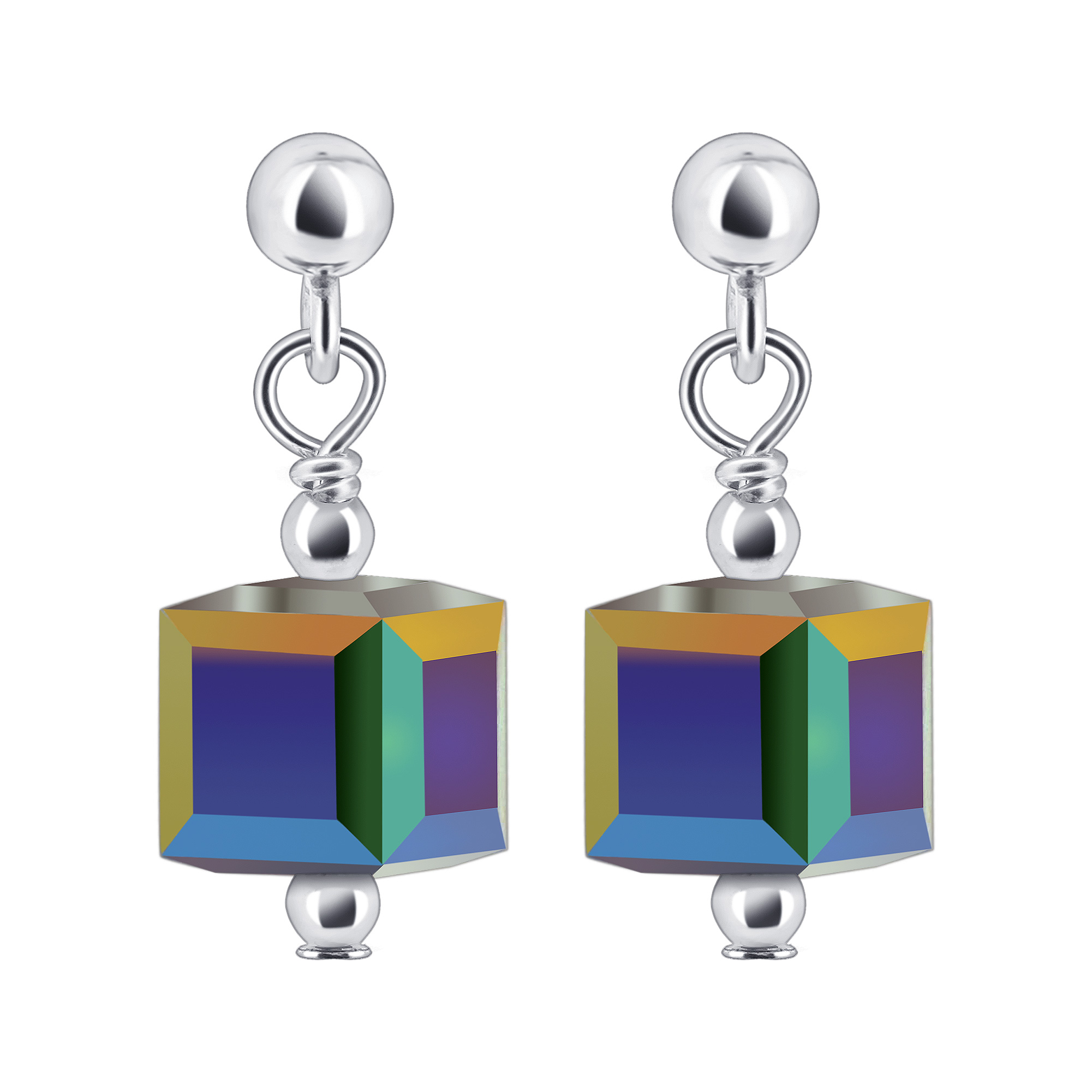 925 Sterling Silver Made with Swarovski Elements 6mm Cube Cr
