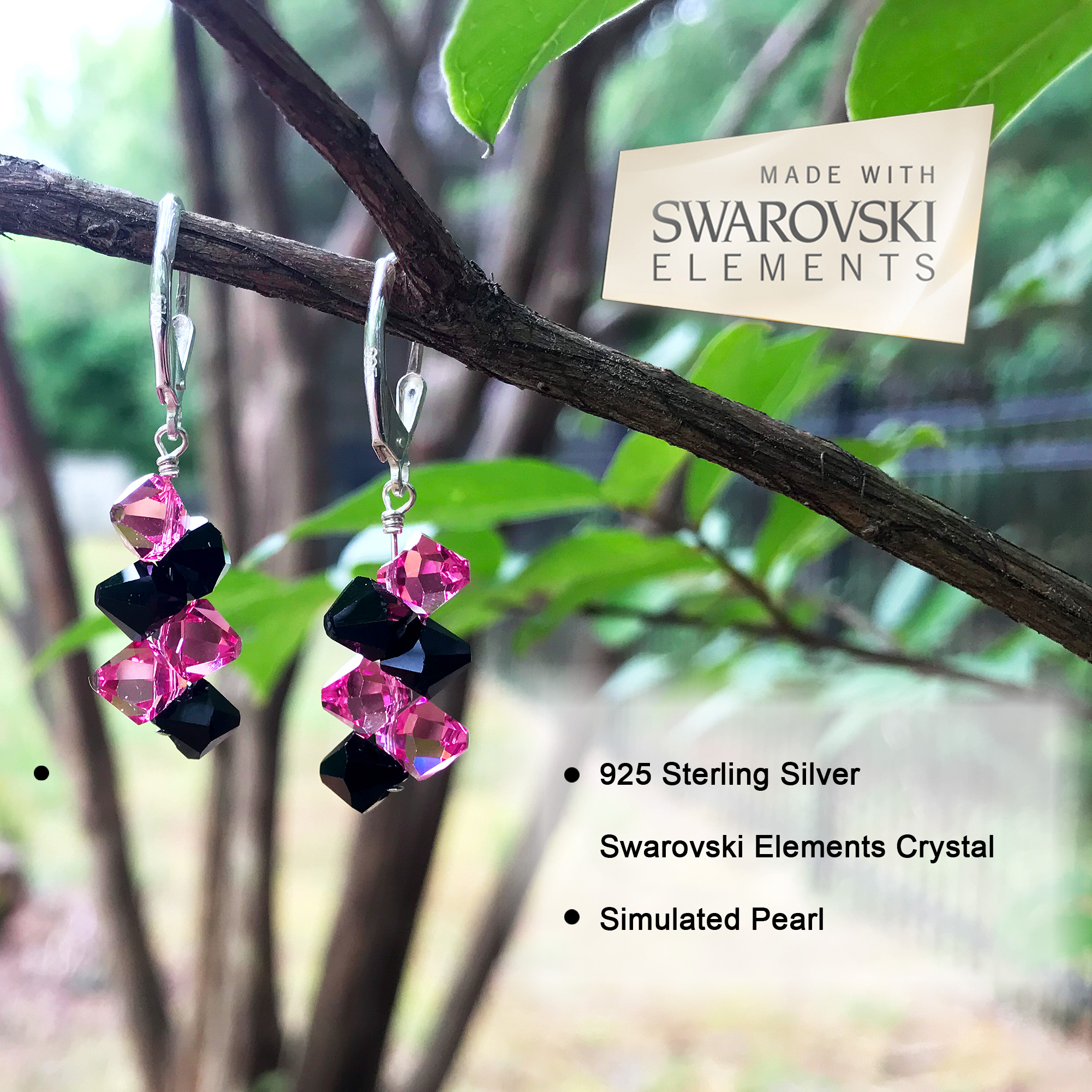 Made-with-Swarovski-Elements-Crystal-Drop-Sterling-Silver-Earrings thumbnail 41