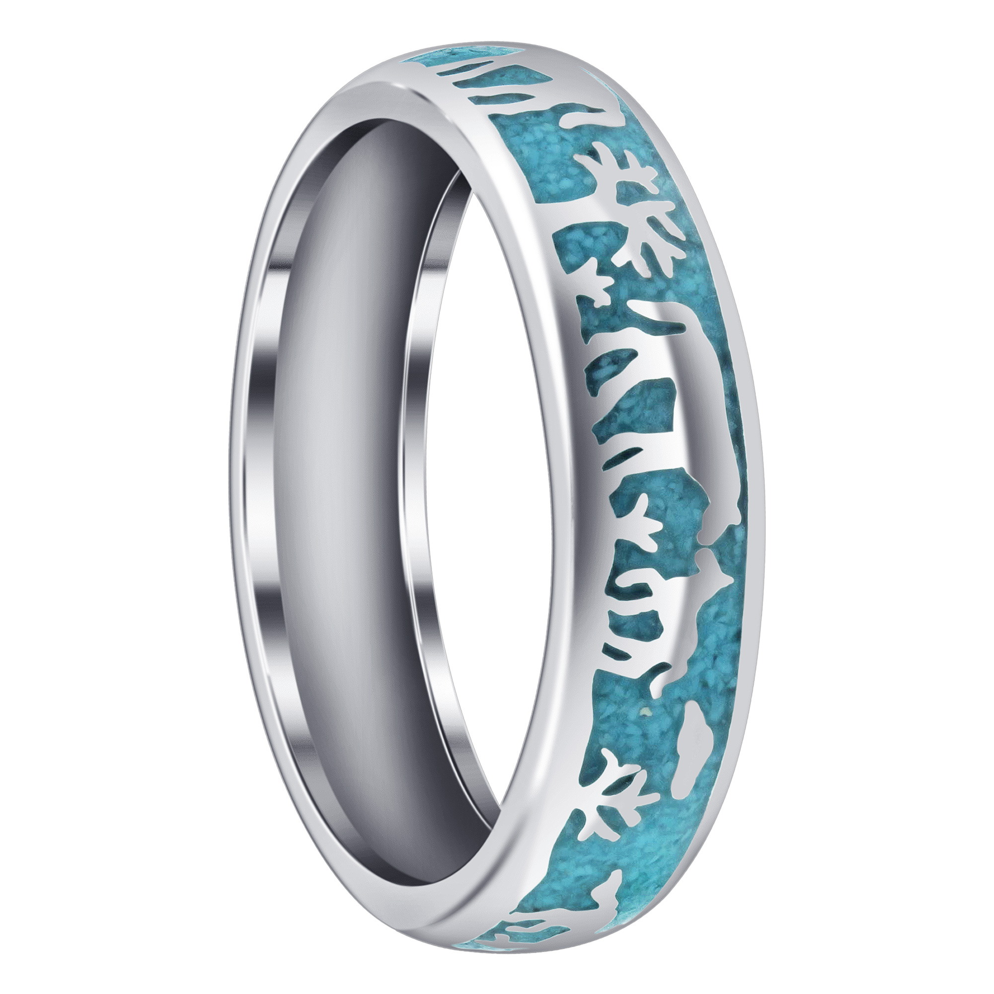 Gem Avenue 925 Sterling Silver Southwestern Style Turquoise Gemstone Band Womens Ring