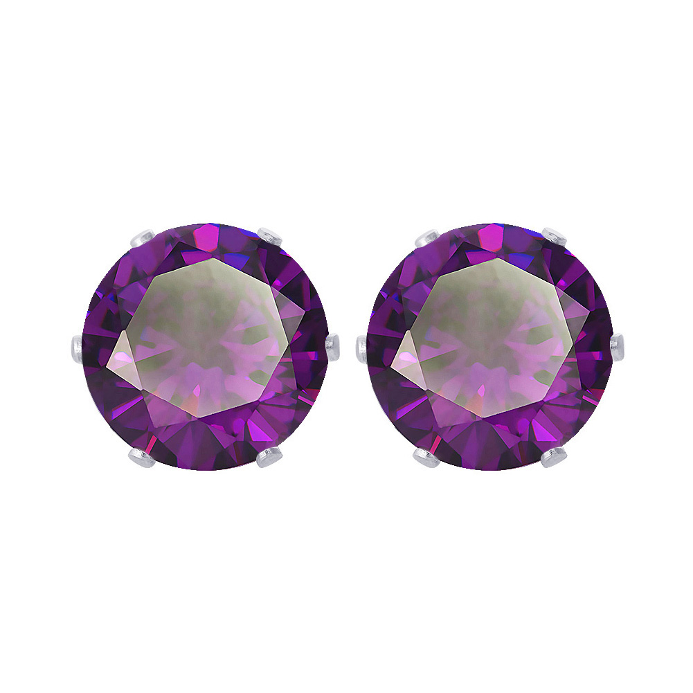 New-925-Sterling-Silver-Cubic-Zirconia-Prong-Set-Round-CZ-Stud-Earrings thumbnail 3