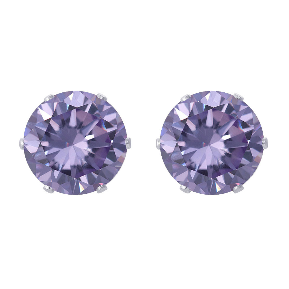 New-925-Sterling-Silver-Cubic-Zirconia-Prong-Set-Round-CZ-Stud-Earrings thumbnail 29