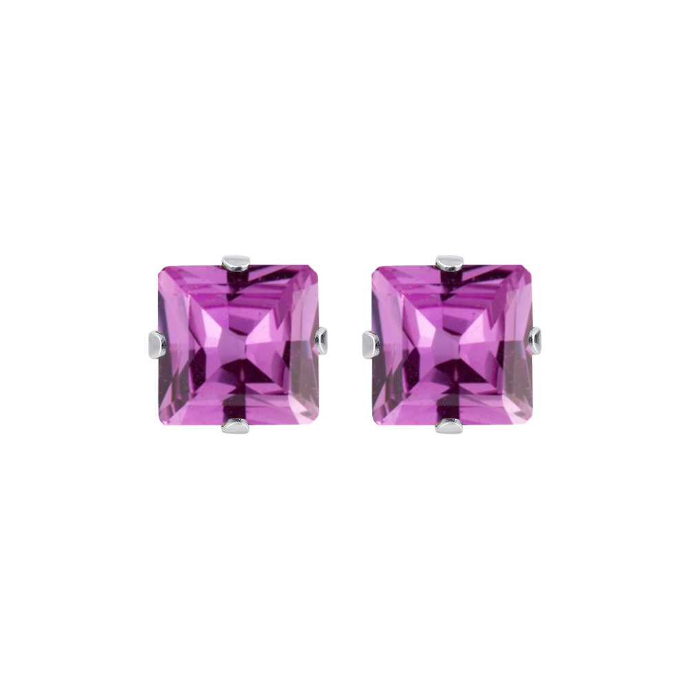 New-925-Sterling-Silver-Cubic-Zirconia-Prong-Set-Princess-cut-CZ-Stud-Earrings thumbnail 3
