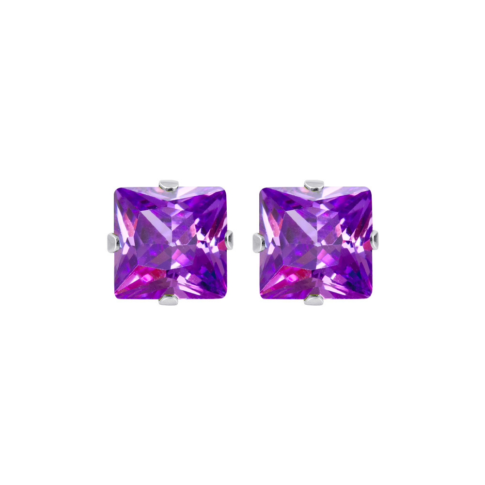 New-925-Sterling-Silver-Cubic-Zirconia-Prong-Set-Princess-cut-CZ-Stud-Earrings thumbnail 18