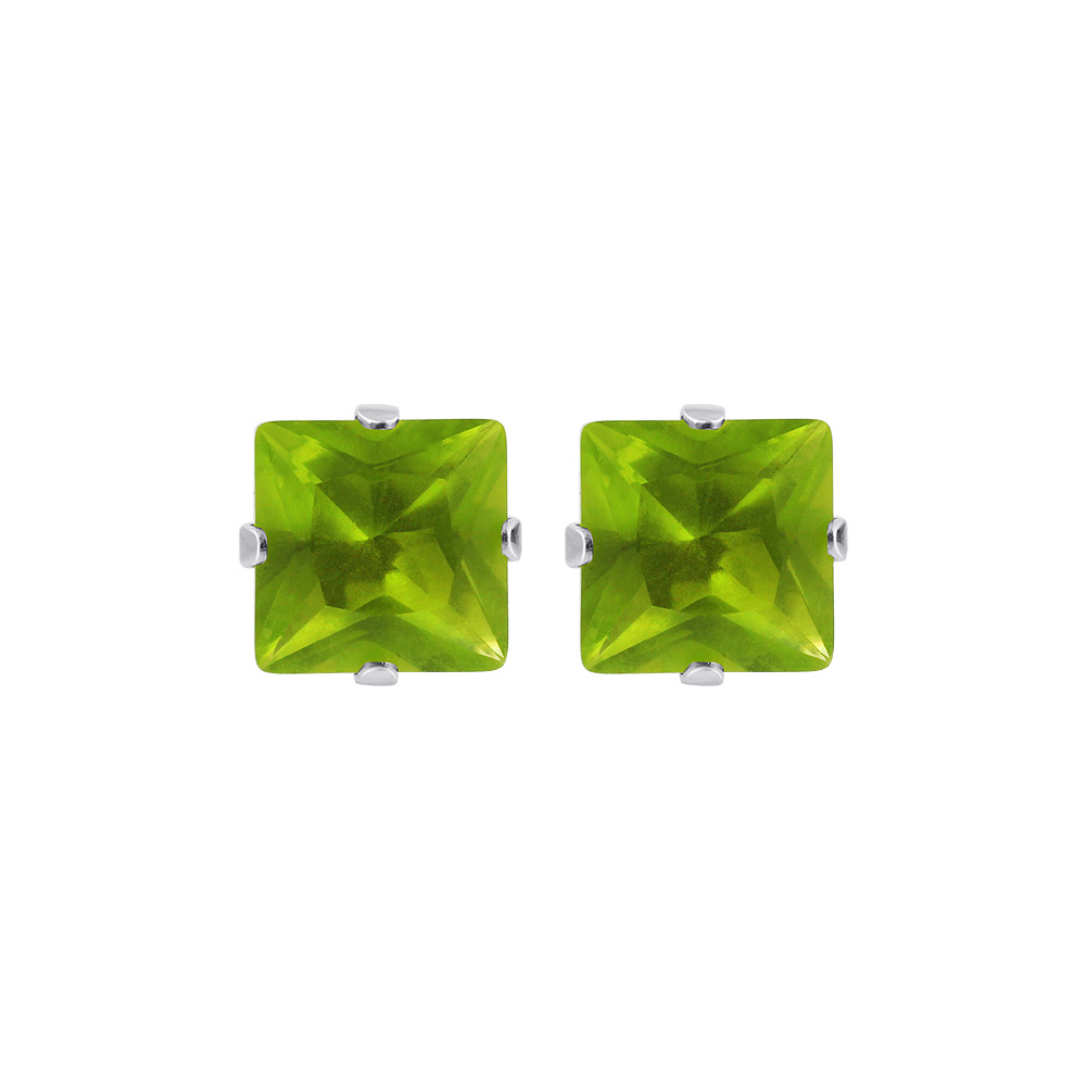 New-925-Sterling-Silver-Cubic-Zirconia-Prong-Set-Princess-cut-CZ-Stud-Earrings thumbnail 21