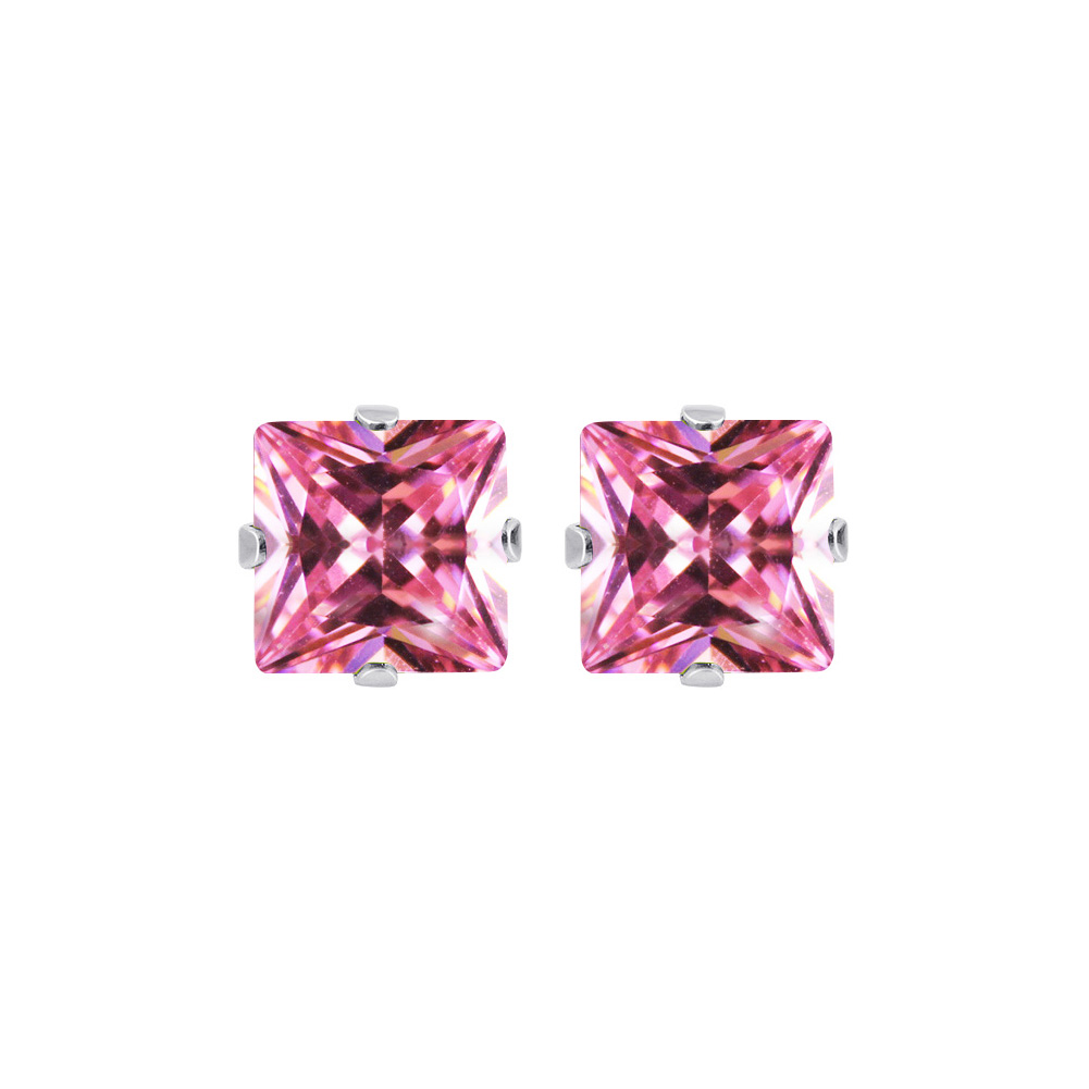 New-925-Sterling-Silver-Cubic-Zirconia-Prong-Set-Princess-cut-CZ-Stud-Earrings thumbnail 24