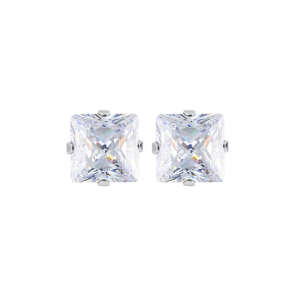 New-925-Sterling-Silver-Cubic-Zirconia-Prong-Set-Princess-cut-CZ-Stud-Earrings thumbnail 11