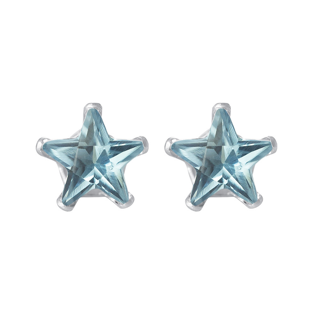 New-925-Sterling-Silver-Cubic-Zirconia-Prong-Set-Star-CZ-Stud-Earrings thumbnail 6