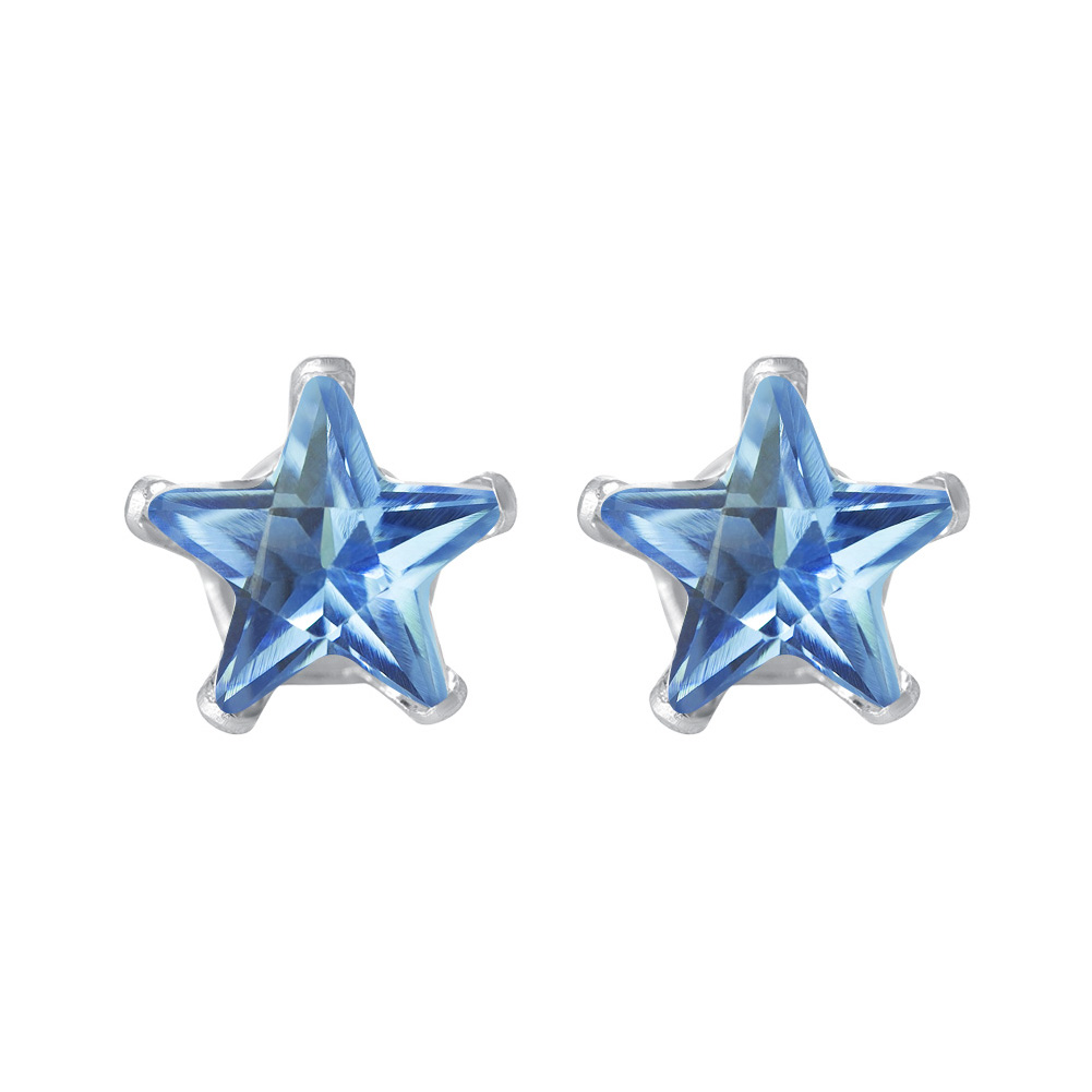 New-925-Sterling-Silver-Cubic-Zirconia-Prong-Set-Star-CZ-Stud-Earrings thumbnail 11