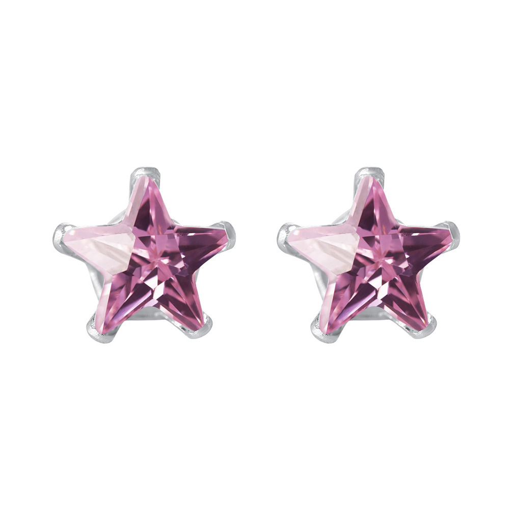 New-925-Sterling-Silver-Cubic-Zirconia-Prong-Set-Star-CZ-Stud-Earrings thumbnail 33