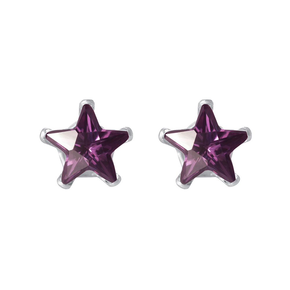 New-925-Sterling-Silver-Cubic-Zirconia-Prong-Set-Star-CZ-Stud-Earrings thumbnail 3