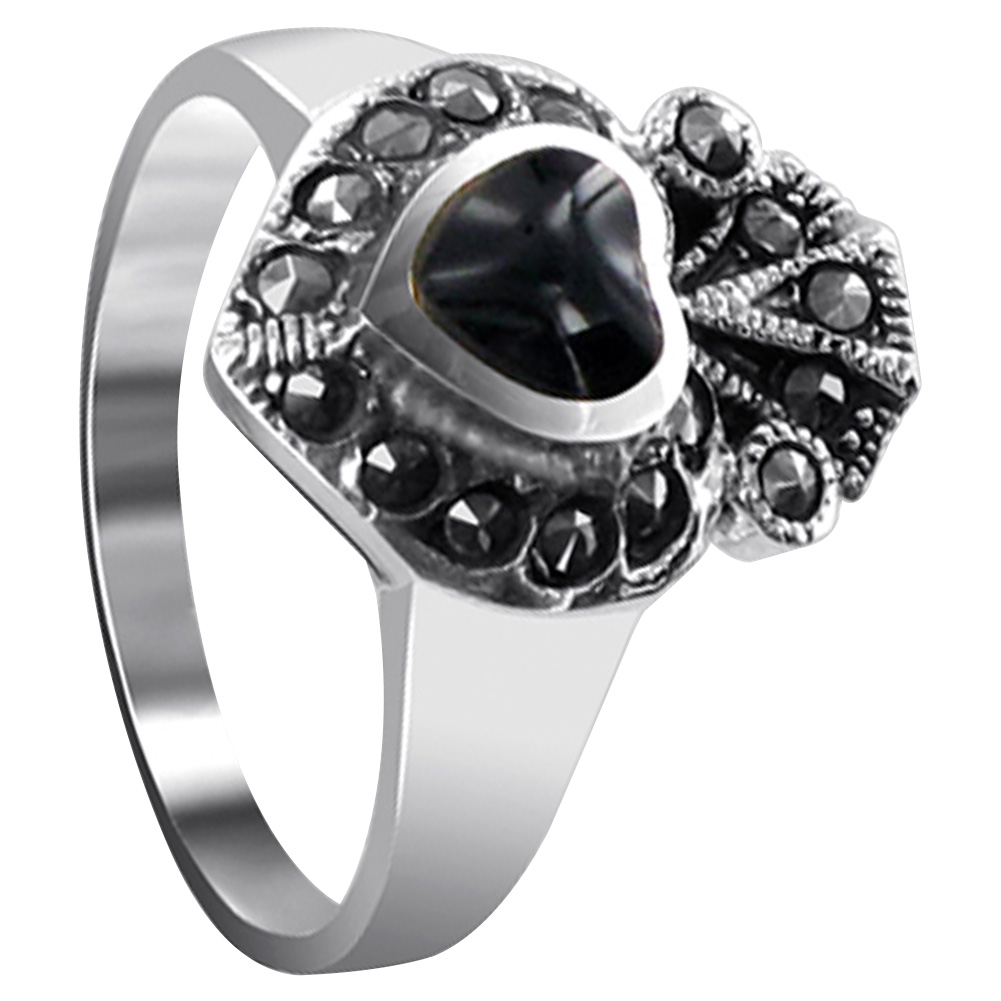 925 Sterling Silver Unisex Ring* MARCASITE with  ONYX MOTHER OF PEARL *SIZE 7*