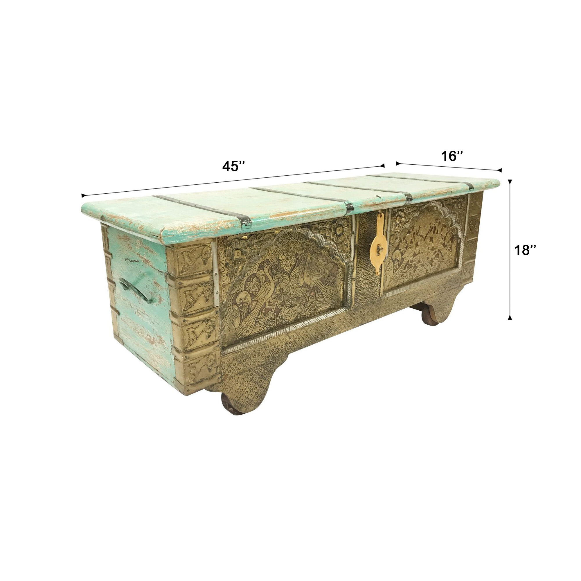 Strange Details About Brass Trim Pistachio Green Reclaimed Wooden Storage Trunk 45 L X 16 W X 18 H Unemploymentrelief Wooden Chair Designs For Living Room Unemploymentrelieforg