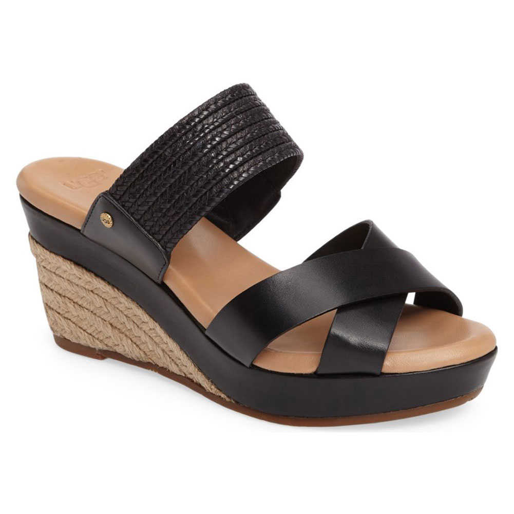 907f77e4ef45 New UGG Women s D Alessio Leather Braid Wedge Sandal - Black Suede ...
